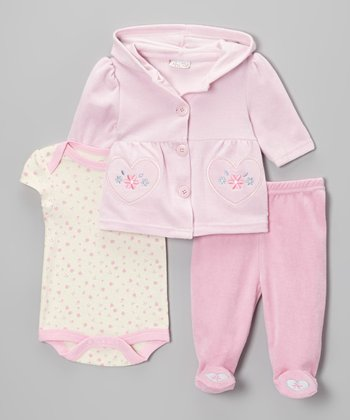 Pink Flower Heart Velour Hooded Cardigan Set