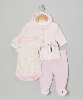 Pastel Pink Butterfly Velour Hooded Cardigan Set