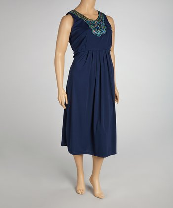 Navy Embroidered Dress - Plus