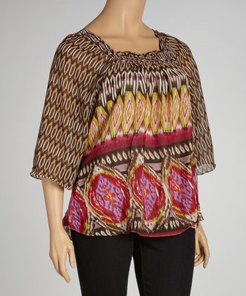 Brown & Pink Abstract Tunic - Plus