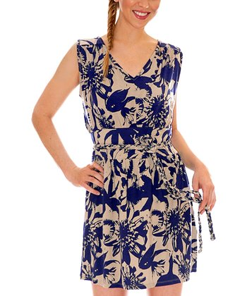 Flora Navy Calla Belted Dress