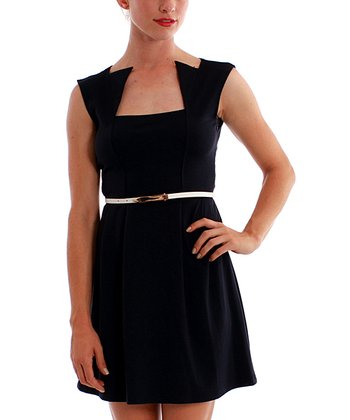 Navy Martini Belted Dress
