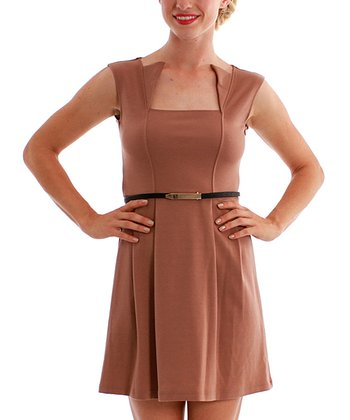 Taupe Martini Belted Dress