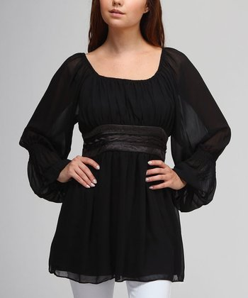 Black Empire-Waist Tunic
