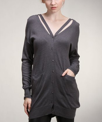 Gray V-Back Cardigan