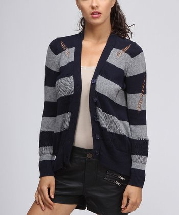 Navy & Gray Stripe Hi-Low Cardigan