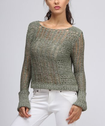Green Knit Eyelet Sweater