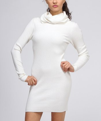 Cream Turtleneck Sweater Dress