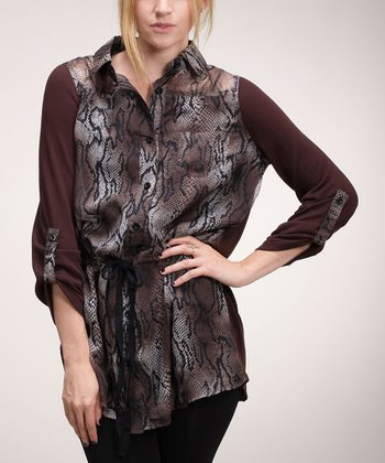Brown & Cream Snake Button-Up Tunic