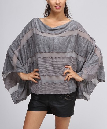 Gray Stripe Cape-Sleeve Top