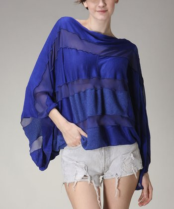 Royal Blue Stripe Cape-Sleeve Top