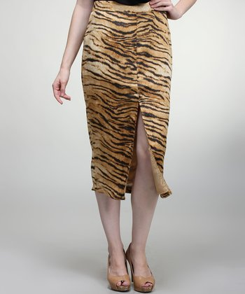 Brown & Black Tiger Pencil Skirt
