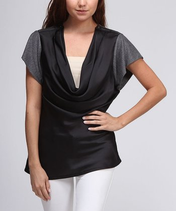 Charcoal Short-Sleeve Cowl-Neck Sweater
