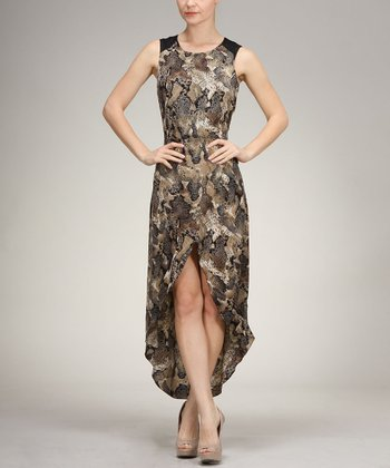 Olive & Black Snake Hi-Low Dress