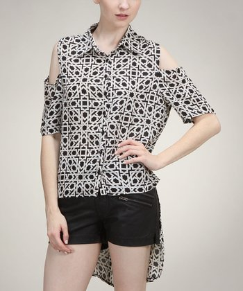 Black & White Geometric Cutout Hi-Low Button-Up