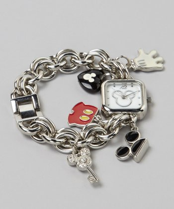Silver Charm Bracelet Mickey Watch