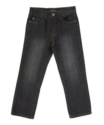 Indigo Stone Wash Straight-Leg Pants