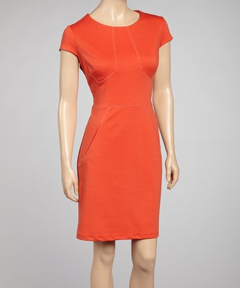 Orange Cap-Sleeve Dress