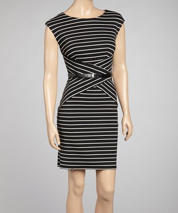 Black & White Stripe Belted Dress