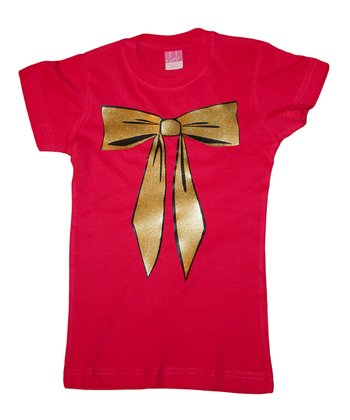 Hot Pink Glittery Bow Tee - Toddler & Girls