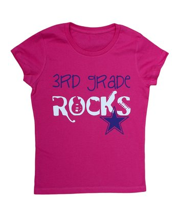 Hot Pink '3rd Grade Rocks' Tee - Girls