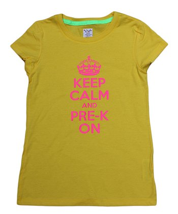 Yellow 'Keep Calm and Pre-K On' Tee - Toddler & Girls