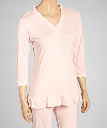 English Rose Ruffle Three-Quarter Sleeve Pajama Top - Women