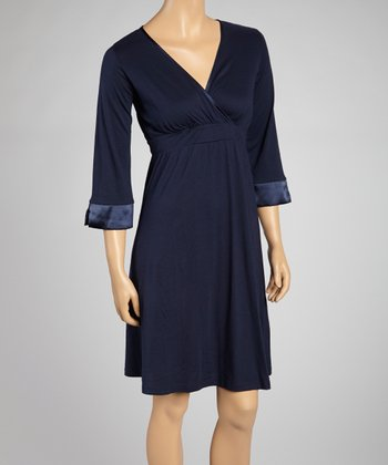 Navy Surplice Nightgown - Women