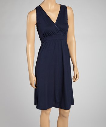 Navy Sleeveless Nightgown - Women