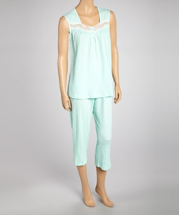 Mint Gauze Capri Pajama Set - Women & Plus