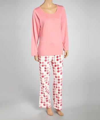 Pink Dot Knit Pajama Set - Women