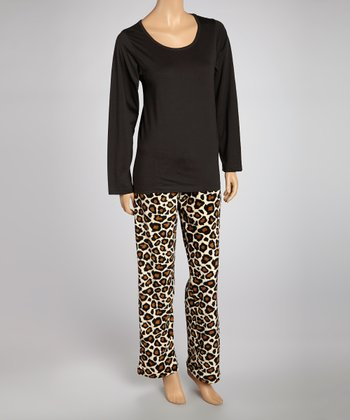 Black Leopard Knit Pajama Set - Women