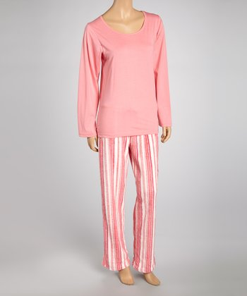 Pink Stripe Knit Pajama Set - Women