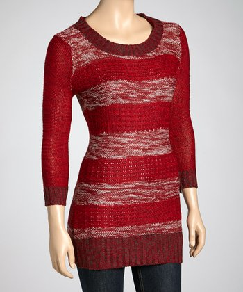 Dark Red Stripe Sweater