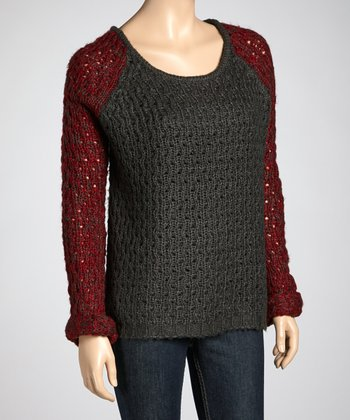Charcoal & Dark Red Raglan Sweater