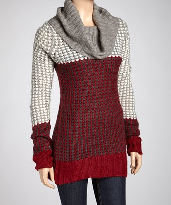 Dark Red Cowl Neck Sweater