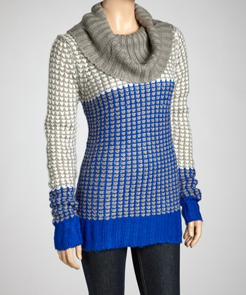 Royal Blue Cowl Neck Sweater