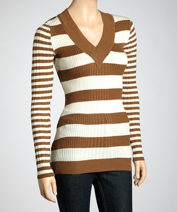 Light Brown & Off-White Stripe Sweater