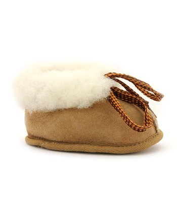 Tan Fuzzy Baby Booties - Kids