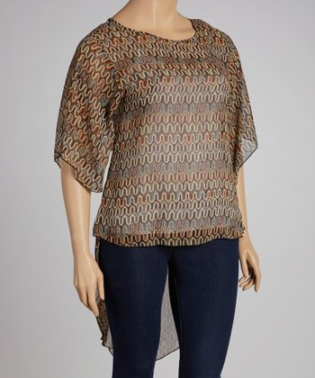 Brown Sheer Shirttail Top - Plus