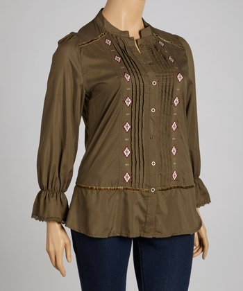 Olive Embroidered Button-Up - Plus