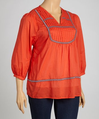 Orange Peasant Top - Plus