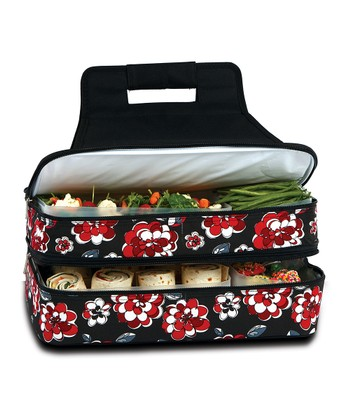 Red & Black Floral Entertainer Food Carrier