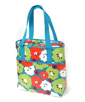 Blue & Green Kiwi Floral Towel Tote