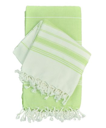 Lime Striped Pestemal Towel - Set of Two