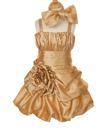 Gold Rosette Satin Dress & Shawl - Toddler & Girls