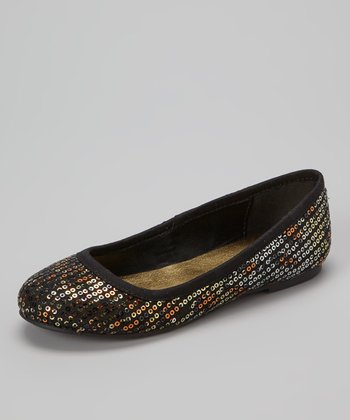 Gold Sequin Ballet Flat