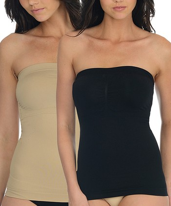 Nude & Black Strapless Shaper Camisole Set