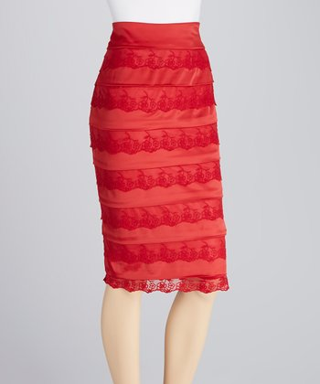 Red Tier Lace Skirt - Women