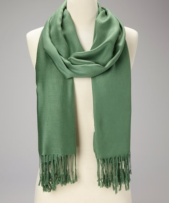 Grass Green Cashmere-Silk Blend Wrap
